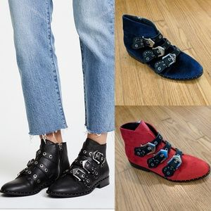 Sol Sana Maxwell Velvet Booties in Red OR Blue